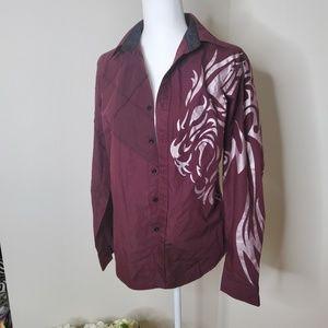 Men's burgundy button down shirt size M